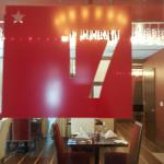 Red 17 door sign, advertising the hotel's 17 Restaurant