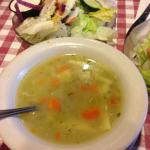 Chicken noodle soup and salad