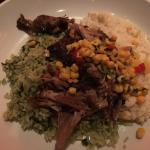 Pulled pork, cilantro rice, corn grits