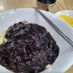 Jjajangmyeon, medium-sized serving.