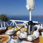 large American breakfast on deck