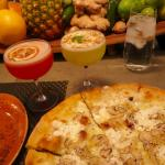 Truffle pizza and cocktails