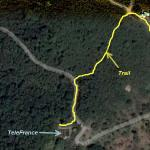 Trail top portion drawn out on satellite image.