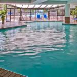 Indoor heated pool with views of the Rocky Mountains