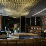 3000 vintage whiskey bottles make up our lobby ceiling art
