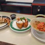 Fried soft shell crab, seafood in beancurd pocket, 1/2 eaten spicy salmon bowl(sorry)
