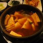 Kimchi-flavoured bean curd soup