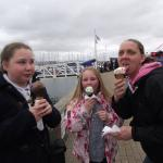 the wife pretending to watch out for seagulls,the ice cream were that nice she didnt want to los