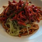 Flatiron steak with wasabi noodles