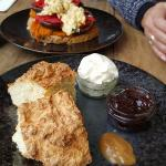 Scones with Strawberry Jam, Cream and Salted Caramel Sauce