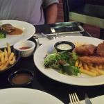 Fish & chips and pork meal