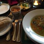 Vegetable soup with croutons and bread