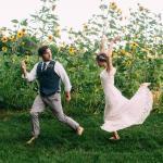 Bride and Groom Celebrating in the Sunflowers