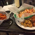 Boiled shrimp, fried okra and hush puppies