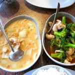 Massaman curry with chicken; broccoli with chicken, garlic, and Thai sauce