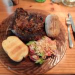 This is my Ribeye, baked potato, bread and cold vegetable salad. The Salad is AMAZING also.