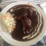 Fabulous mole negro - smokey, savoury with a hint of chocolate - with chicken & rice.