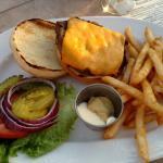 Cedar burger and fries