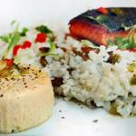 Salmon with savory flan