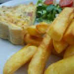 Nice quiche with salad and chips