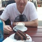 black forest gateau, coffee, hot chocolate, and me.