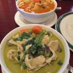 Green curry and mango curry, both with chicken