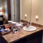 Sink area with lots of complimentary goodies