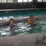 Enjoying the hot tub at the indoor pool