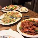 Schezuan Chicken, Shrimp fried rice, Shrimp-Vegetable dish