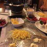 Fondue Bacchus with pommel allumettes and home made sauces
