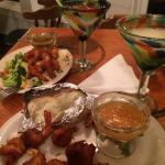 Lukewarm frozen shrimp. Good Margaritas! Nasty sauces! Reheated rice.