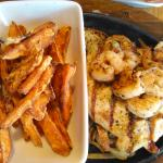 I ordered the grilled chicken and shrimp with sweet potato fries