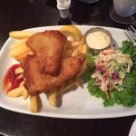 My yummy fish and chips.