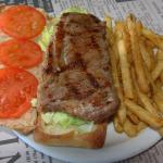Steak on a bun at The Junction in Dundalk, Ontario, Canada