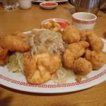 Pork chow mein, fried shrimp, sesame chicken & crab puffs.