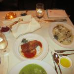 The food at our table - asparagus soup, egg plant pasta (red thing), and pasta - see writeup...