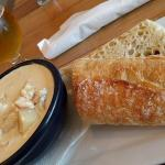 Haddock, shrimp, and bacon chowder -- YUM!