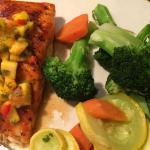 Firecracker Salmon with mango salsa... yummy. This is a right portion and delicious. highly reco