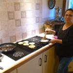 Maria making a gourmet breakfast.