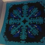 One of two beautiful Hawaiian quilts displayed at Aloha Junction