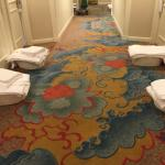 Linens/Towels staged outside guests door at 8am for next guests. Distasteful