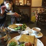 Enjoying tea and the superb Welsh Rarebit.