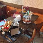breakfast table - food brought to table, coffee