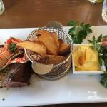 Delicious food in restaurant Cranachan and surf and turf.