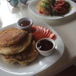 Plantano Pancakes and Vegan Omlette (background)
