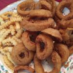 Shrimp PoBoy & onion rings & fries