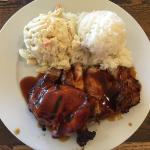 This was my first time having Hawaiian food. I got the bbq chicken with macaroni salad and rice.
