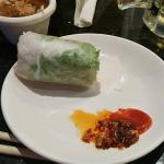 Pho 95 - Shrimp Spring Roll, dipping sauces hot chili and peanut butter sauce