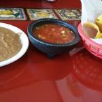 Chips, salsa, refried beans