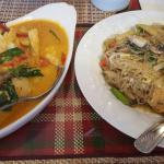 Fish panang curry and Pad woon sen
